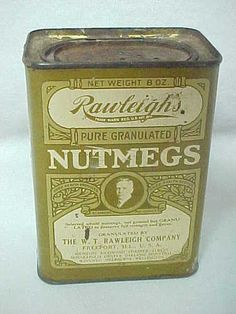 Vintage Rawleighs Nutmegs Spice Tin