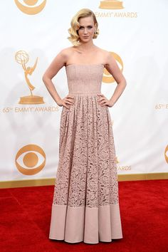 January Jones jumped on the blush train in Givenchy #Emmys