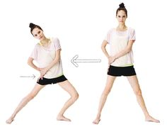 【大転子の矯正ストレッチ】 1.大転子に両手を当てて、両脚を開いて立ちます。  両手を右の骨盤から指5本分下の骨(大転子)にあてます。  左足はつま先を外向きにします。   2.脚の付け根にある大転子を両手で真横に押し込んで10秒キープ。  お尻が後ろに出ないように注意してくださいね。  逆も同様に行います。