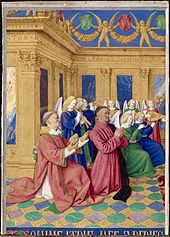 Etienne Chevalier and his Patron Paying Homage to the Virgin and Child - Jean Fouquet Prado, Metropolitan Museum, Jean Fouquet, Berlin Museum, Web Gallery Of Art, Google Art Project, Book Of Hours, European Paintings, Medieval Art