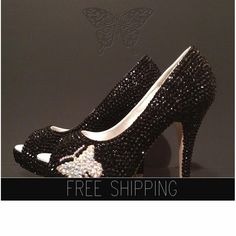 1. Top quality crystals, image - Jet Black2. Butterfly crystal image: AB crystals3. Image: 5 heels 1 1/4 platforms. peep toe4. 100% handmade, breathtaking quality!5. 15 DAYS PROCESSING nbsp;+ shipping time