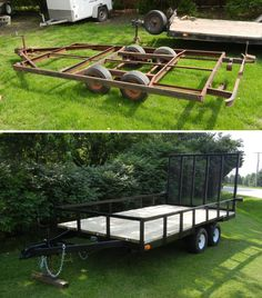One of my projects. Tandem axle frame from a 1980 Palomino folding camper. Suspension truck had to be dropped, split, and widened. Final result; 6'x12' 4000 lb. capacity trailer with rear drop down gate/ramp.