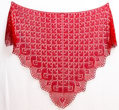 Lovelia is an elegant triangular lace shawl with heart motifs. The body is filled with small hearts that transits into a row of larger hearts. The shawl is finished with a lacey scalloped edge. It is worked from the neck and down, and can be made any size by repeating the main heart pattern as many times as desired.