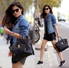 Karen Walker Sunnies, 3.1 Phillip Lim Pashli, Nike Sneakers, Sheinside Faux Leather Short