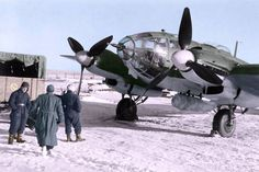 Heinkel He 111H-6 (A1+HT)(WNr 4566) of 9./KG 53 at Gostkino, Leningrad Oblast, late 1942. Kampfgeschwader 53 supported 'Fall Blau' and the German Sixth Army at the Battle of Stalingrad, and took part in the desperate resupply operation after the Russian counteroffensive had encircled the Sixth Army. Attacks were also carried out in northern Russia, against Leningrad. (Colorised by Scott Spencer)
