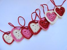 Heart Bunting Crochet Valentine Garland in Red by HandmadeMichelle, $14.00