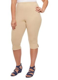 Plus Size Textured Knit Capri Pants with Side Slits,KHAKI