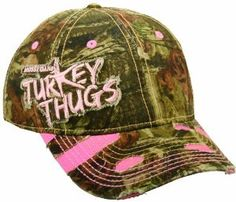 Love it!   Mossy Oak Women's Turkey Thugs Break-Up Infinity Camo Cap by Outdoor Cap. $12.90. Hook/loop tape closure. 57cm circumference, womens, One Size Fits Most. Heavy wash and fray. Mossy Oak Turkey Thugs logo on Break-Up Infinity camo cap. 6 panel cap, unstructured, ladies fit. Great looking lady's hunting cap with the Mossy Oak Turkey Thugs logo on side, large rip frayed areas on visor with pink accents showing through. Cap is designed to fit a woman's head, adjustable.