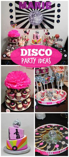 A throw back to the 70's with this disco birthday party from @violetaglace with vinyl record cookies and a disco ball topped cake!  See more party planning ideas at CatchMyParty.com!