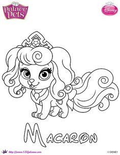 Princess Palace Pets Coloring Page of Macaron | SKGaleana