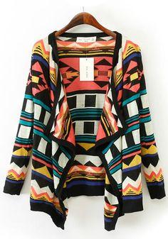 Multicolor Geometric Print Irregular Knit Cardigan