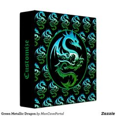 Green Metallic Dragon 3 Ring Binder Binder Inserts, 3 Ring Binders, Binder Design, Custom Binders, Types Of Rings, Photo Quality, Unique Weddings, Portal