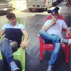 Jordan Masterson (Ryan) and Christoph Sanders (Kyle) on the set of Last Man Standing.