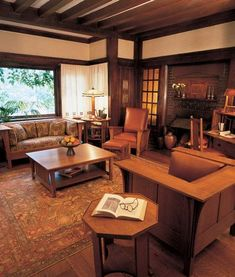 Living room with Stickley Craftsman furniture Craftsman Living Rooms, Craftsman Furniture, Craftsman Interior, Craftsman Style Homes, Craftsman Bungalows, Antique Furniture, Bungalow Interiors, Bungalow Homes, Cabin Interiors