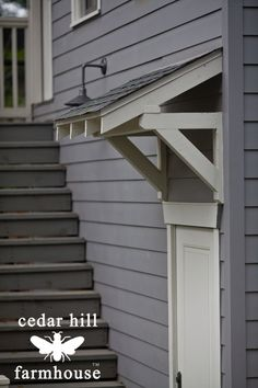 Front door exterior stairs 15 ideas for 2019 Front Door Awning, Porch Overhang, Porch Roof, Front Porch, Exterior Stairs, Exterior Front Doors, Building Exterior, Diy Exterior Door Awning, Cafe Exterior