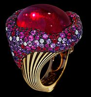 """Mousson Atelier New Age """"Mox"""" Gold Tourmaline & Sapphire Ring R0054-0/1"""