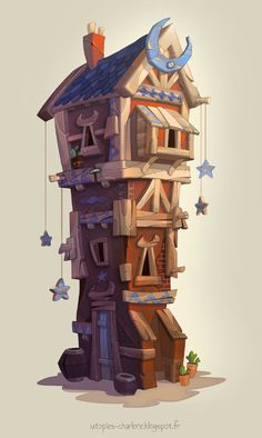 Moon House, Charlène Le Scanff (AKA Catell-Ruz) on ArtStation at https://www.artstation.com/artwork/moon-house