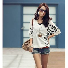 Leisure and Mix-Matched V-Neckline Batwing Long Sleeves Blouse