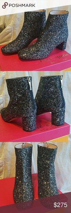 """Kate Spade black silver glitter ankle boots 8M Kate Spade New York black silver glitter ankle boots 8M New in box. S542506 2 1/2"""" heel. These have just been tried on. UPC 888445719721 kate spade Shoes Ankle Boots & Booties"""