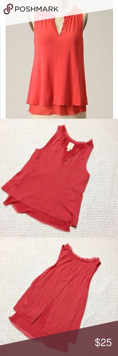 Anthropologie Ric Rac Whisper Tank From Ric Rac for Anthropologie comes the perfect day to night top for summer. Delicate chiffon layers with a soft pima cotton blend in shades of coral to create an open-back, V neck tank top with button embellishment and flowing A line shape. Good pre-loved condition. Size XS. Anthropologie Tops Tank Tops