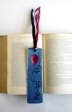 """Red Balloon """"Read... Fly"""" Hand-Painted Up-Cycled Denim Bookmark with Tassel - $12.00. #reading #recycled @beccajcampbell"""
