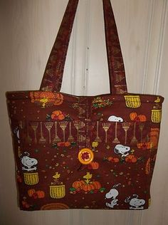 PEANUTS Snoopy Charlie Brown purse tote bag FALL AUTUMN Raking Leaves