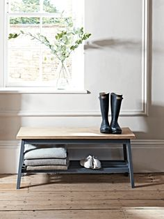 Oak & Charcoal Bench - Home Storage Units - Drawers, Ladders & Shelves - Home Storage Solutions