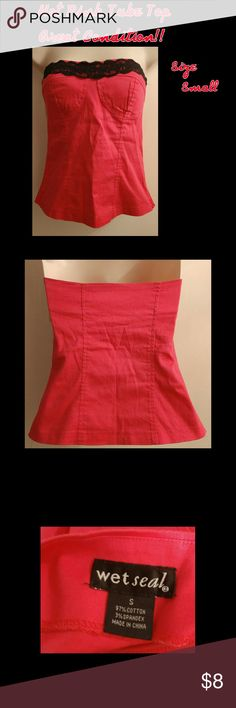 Small Hot Pink Tube Top Black Lace Detail For sale is a size small tube top from Wet Seal. It is hot pink with black lace detail. It has a side zipper. Pre-loved but in great condition with no holes, tears or stains! Bundle to save! I also like to trade?? Wet Seal Tops Tank Tops