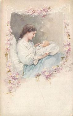 Vintage Mother and New Baby Postcard, ca. 1910s