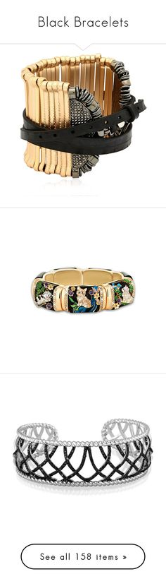 """Black Bracelets"" by thesassystewart on Polyvore featuring jewelry, bracelets, gold plated jewelry, nickel free jewelry, gold plated bangles, swarovski crystal jewelry, gold plated jewellery, heart bangle, tri color jewelry and cat bangle"