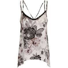 **Girls on Film Floral Cami Top ($27) ❤ liked on Polyvore featuring tops, shirts, tank tops, black, cami shirt, floral print tops, polyester camisole, floral cami top and camisole tank tops