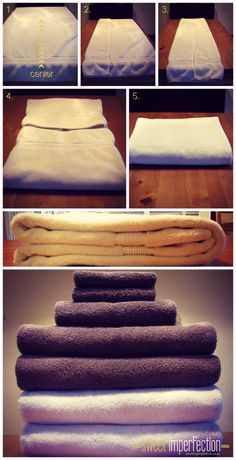 How to fold a towel. eat, craft, decorate, tidy! Great site for recipes, tips for the home and decorating ideas! www.sweetimperfection.com