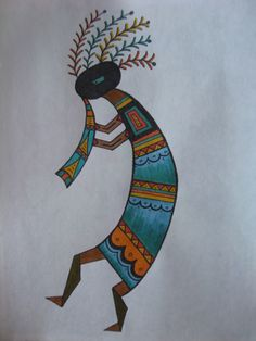 Kokopelli with head dress Southwestern Quilts, Southwest Art, Aboriginal Patterns, Aboriginal Art, Native American Flute, Native American Symbols, Painted Gourds, Painted Rocks, Kokopelli Tattoo