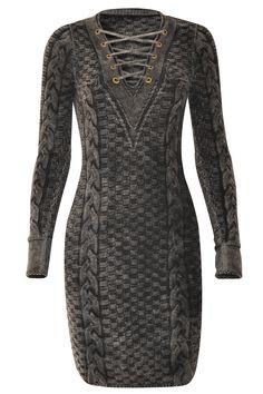 Vestido Tricô Delavê Preto Estonado | Galeria Tricot - Galeria Tricot