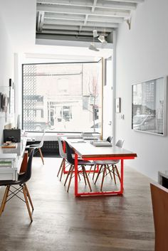 fabulous studio and neon meeting table