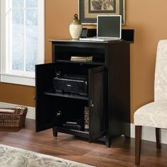 Sauder Edge Water SmartCenter Cabinet, Estate Black. Great place to hide away that ugly printer and charge laptops and tablets when not in use.