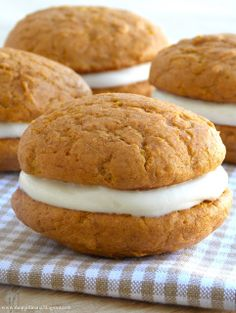 Pumpkin spice whoopie pies with cream cheese filling
