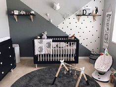Accent Wall Ideas - An accent wall is needed within a boring room to give them some extraordinary touch. It can also break up a large room. Or, an accent wall can simply define a strong feature in the room. Baby Bedroom, Baby Boy Rooms, Baby Room Decor, Baby Boy Nurseries, Bedroom Black, Nursery Room Ideas, Baby Cribs, Baby Boy Bedroom Ideas, Room Baby