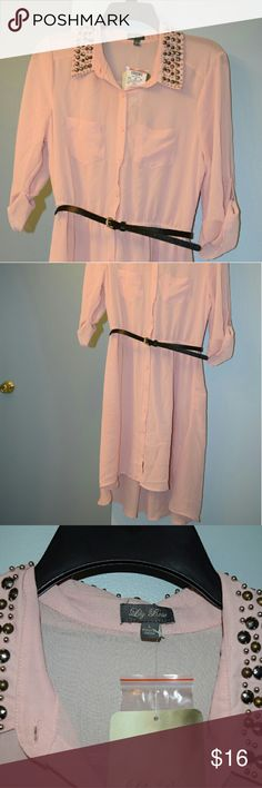 Lily Rose Pink shirt dress Light pink shirt dress. Lightweight chiffon like material with black skinny belt and Embellished collar.  New With Tags Lily Rose Dresses