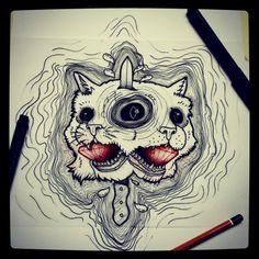 #ink #draw #cat #tattooflash #knife #inked #diamonds #blood #blackeye #drawings #drawing #art #flashart #animals