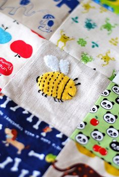 ≗ The Bee's Reverie ≗ embroidered applique Bee on a patchwork quilt