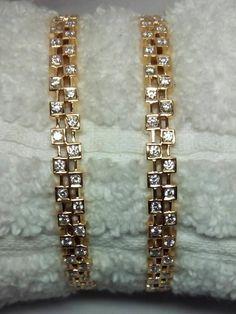 Bracelets – Page 6 – Modern Jewelry Plain Gold Bangles, Gold Bangles Design, Jewelry Design, Gold Bangle Bracelet, Diamond Bangle, Diamond Jewelry, Diamond Mangalsutra, Emerald Bracelet, Gold Necklace