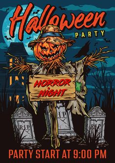 Colorful Halloween Vector Poster Design by DGIM Studio. Download lots of Halloween designs with editable text on www.dgimstudio.com.