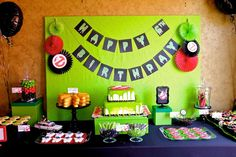 Teenage Mutant Ninja Turtle boy birthday party dessert table! See more party planning ideas at CatchMyParty.com!