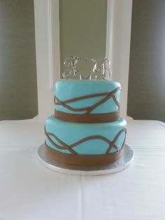 Tiffany Blue with Ribbons Wedding Cake Amazing Wedding Cakes, Tiffany Blue, Yummy Cakes, Ribbons, Desserts, Food, Tiffany Blue Color, Tailgate Desserts, Dessert