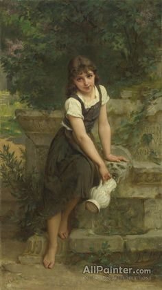 """Émile Munier,At The Fountain oil painting reproductions for sale """"Ophelia by John Waterhouse"""" by The Fine Art Masters Francisco de Goya Renaissance Kunst, Renaissance Paintings, Amazing Paintings, Classic Paintings, Oil Paintings, Munier, William Adolphe Bouguereau, Academic Art, Oil Painting Reproductions"""