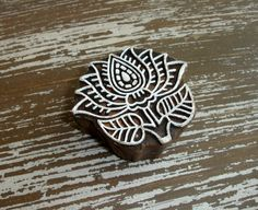 Lotus Flower Stamp, Indian Printing Block, Hand Carved Wood Block Stamp, Buddhism Yoga Meditation, Mendhi Henna Textile Clay Stamp, India, by DelhiDaze on Etsy, $13.00