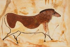 French Cave Paintings | Arion, French cave horse, Acrylic on canvas painting, 24 x 36 inches
