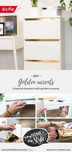 Malm chest of drawers with gold accents in just a few steps. Ikea Malm Drawers, Ikea Chest Of Drawers, Chest Of Drawers Makeover, Diy Drawers, Inspiration Ikea, Ikea Furniture, Gold Accents, Lp Storage, Record Storage