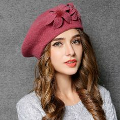 Handmade flower beret hat wool winter fisherman hats for women vintage style 3a7cc1660909